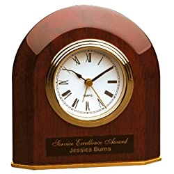 5 1/4 x 5 1/2 Rosewood Piano Finish Beveled Arch Desk Clock CUSTOM ENGRAVED / PERSONALIZED!!