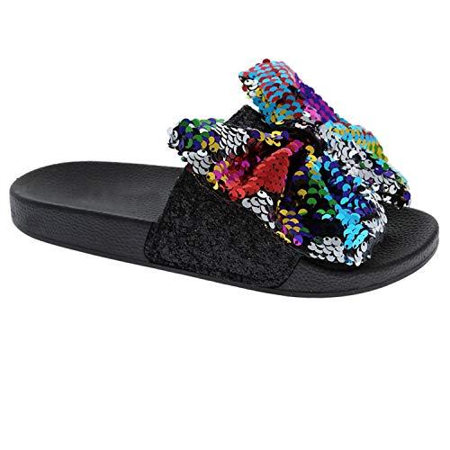 (Trends SNJ Women's Bow Tie Spangle Glitter Open Toe Flip Flop Sequin Low Slide Sandals Black/Multi)