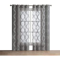 "HLC.ME Adel Damask Burnout Window Sheer Voile Curtain Grommet Panels - Set of 2-84"" inch Long (Grey)"