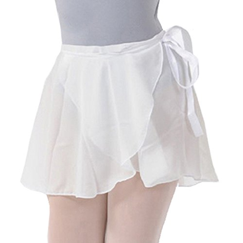Wuchieal lady's Sheer Wrap Skirt Ballet Skirt Ballet Dance Dancewear White