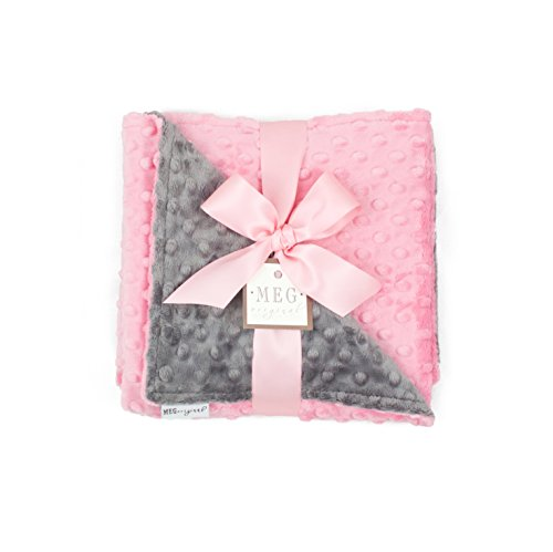 MEG Original Paris Pink & Charcoal Gray Minky Dot Baby Girl Blanket