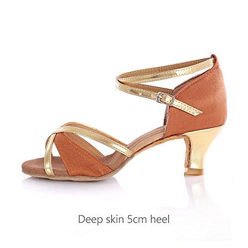 YFF Salón de baile Zapatos de Baile latino Salsa Tango Mujer Mujeres señoras deep skin 5cm heel