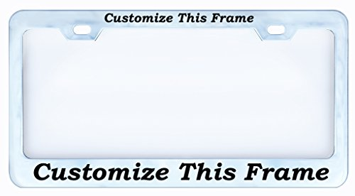 PERSONALIZED Custom Chrome License Plate Frame Tag, Metal,Boon Font,Weatherproof Vinyl Cut Letters