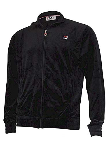 Fila Men's Kooper Zip Front Black Velour Track Jacket Sz: - Black Velour Zip Jacket