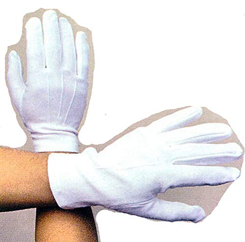 (Men's White Cotton Dress Gloves Wedding Gloves Wrist Length Medium (09651W Z))
