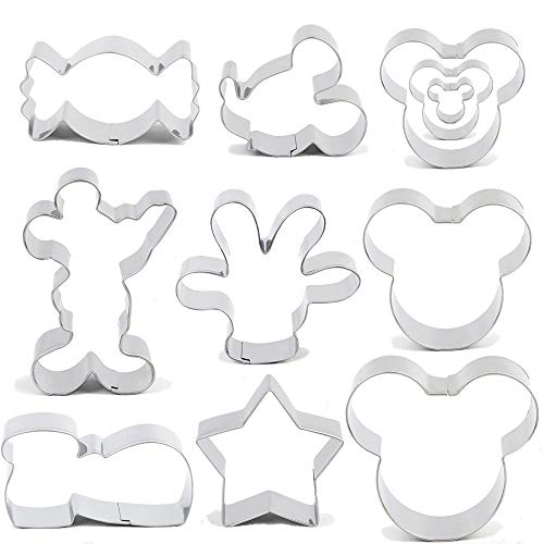 BakingWorld Mouse Cookie Cutter Set - 11pcs - Mouse Head,Ears,Side Face,Hand,Star,Candy and Shoes Cartoon Shape Fondant Biscuit Cutters Mold - Stainless ()