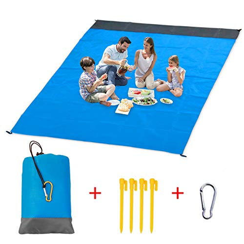 Vetoo Sand Free Beach mat, Quick Drying Ripstop Nylon Compact Outdoor Beach Blanket Best Sand Proof Picnic Mat for Travel, Camping, Hiking and Music Festivals (82''×79'') ()