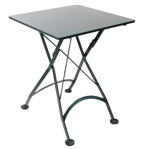 Square Patio Table Iron Folding - Mobel Designhaus French Café Bistro Folding Table, BlackGreen Frame, 24