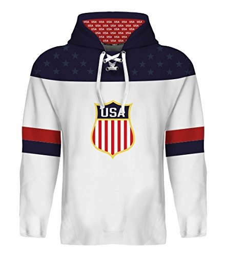 2016 USA Hockey World Cup Hoodie NHL Eichel Moses Bonino Sexton Larkin Kane (White, L)
