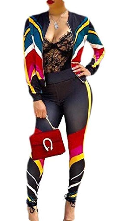 魅力的であることへのアピールテクスチャーコンチネンタルchenshiba-JP Womens 2 Piece Outfits Color Block Jacket Suit Bodycon Pants Sweatsuits