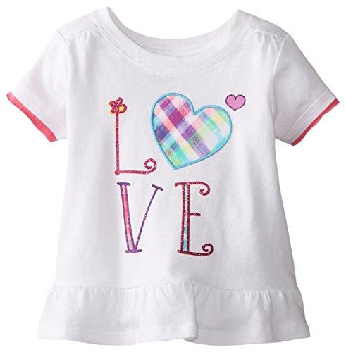 The Children's Place Baby Girls' Short Sleeve Peplum Top, White, 9 12 Months