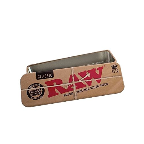 RAW King Size Slim Cone Caddy Metal Storage Container Tin Rolling Papers