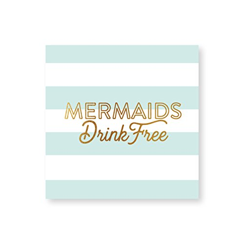 (C.R. Gibson ''Mermaids Drink Free'' Teal and White Striped Beverage Napkins, 20 ct., 5'' x 5'')
