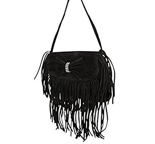 Damen Stilvolle Tasche Abendtasche Schultertasche mit Fransen Schwarz XLdB1tN5r