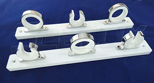 Rod Aluminum Racks Polished (SeaLux Marine Rod Reel Hanger Storage Rack with Snap Lock Rod Holders (3-Set Rod Hanger on White Poly Board))