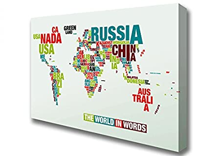 Maps of the world the world in words canvas art prints large 26 x maps of the world the world in words canvas art prints large 26 x 40 gumiabroncs Image collections
