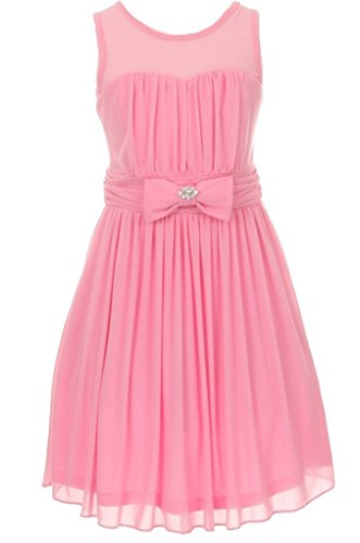 Big Girls' Darling Sweetheart Chiffon Gown Bow Crystal Flowers Girls Dresses Pink Size 8 - Darling Pink Skirt