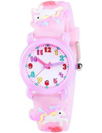 Venhoo Kids Watches 3D Cute Cartoon Waterproof Silicone Children Toddler Wrist Watch Time Teacher Birthday Gift for 3-10 Year Girls Little Child-Purple