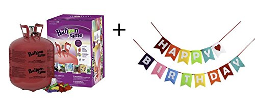 Balloon Time Disposable Helium Tank 14 9 Cu Ft   50 Balloons And Ribbon Included By Blue Ribbon   Colorful Happy Birthday Banner