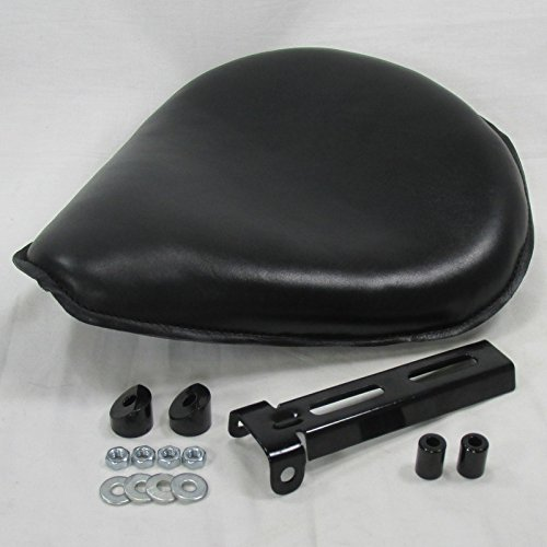 Black Top Grain Leather Large Spring Mount Solo Seat with Hinge and Mounting Hardware - Fits MANY makes and models - Harley Chopper Bobber Cafe Racer Pivot License Plate Mount