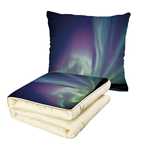 - Quilt Dual-Use Pillow Northern Lights Exquisite Atmosphere Solar Starry Sky Calming Night Image Multifunctional Air-Conditioning Quilt Mint Green Dark Blue Violet