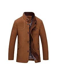 Huafeiwude Men's Winter Wool Pea Coat Slim Fit Trench Jackets