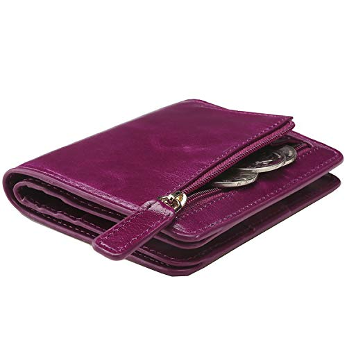 Itslife Women's Rfid Blocking Small Compact Bifold Leather Pocket Wallet Ladies Mini Purse with id Window Fuchsia)