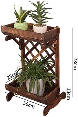 MultifuncióN Estante Almacenamiento Baldas Soporte for flores Bonsai Estante de exhibición Escalera de pie de madera de 2 niveles con enrejado, estante de almacenamiento de soporte de planta, enrejado: Amazon.es: Hogar