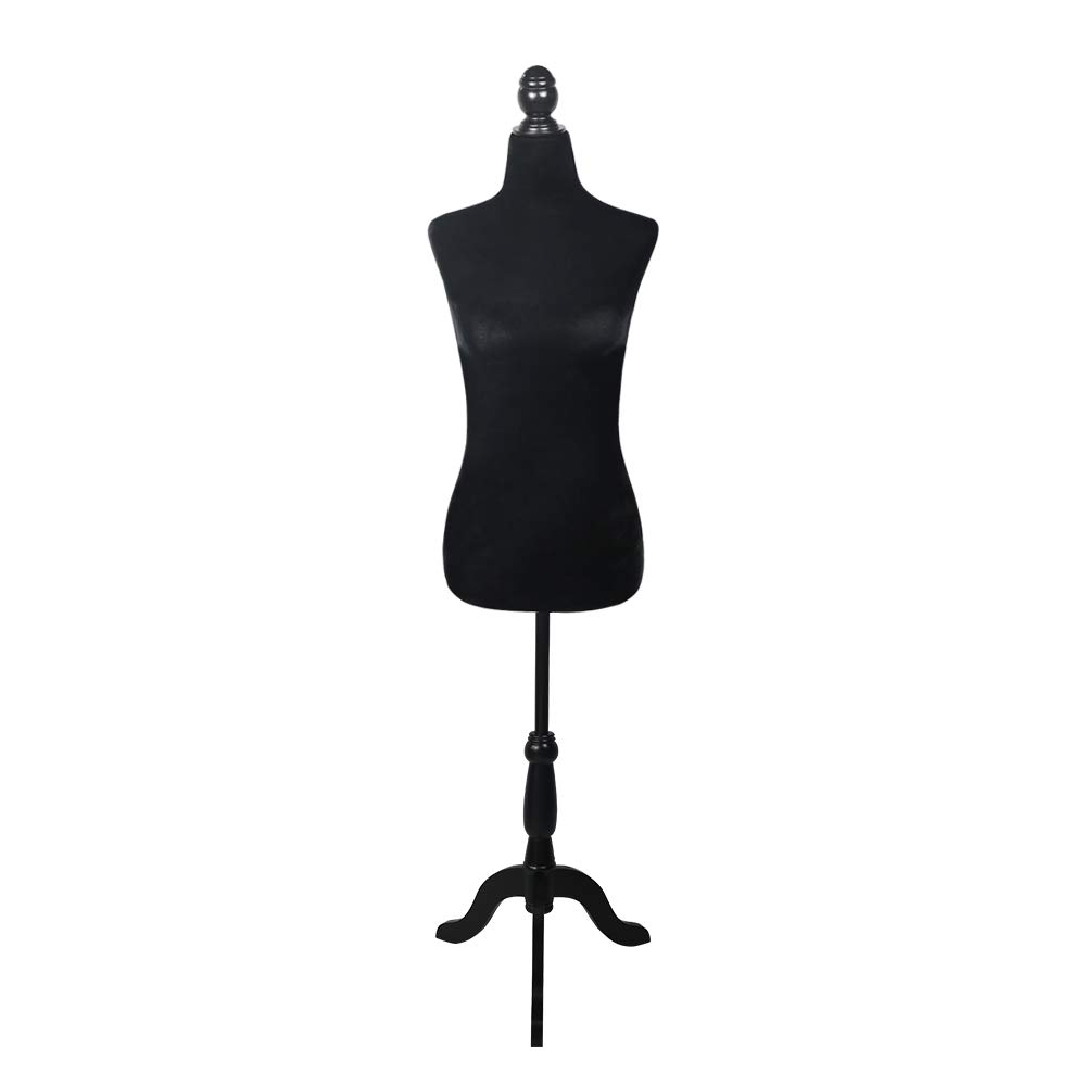 HAICOOL Adjustable Female Mannequin Torso Dress Model Form with Tripod Stand Clothing Dispaly Black