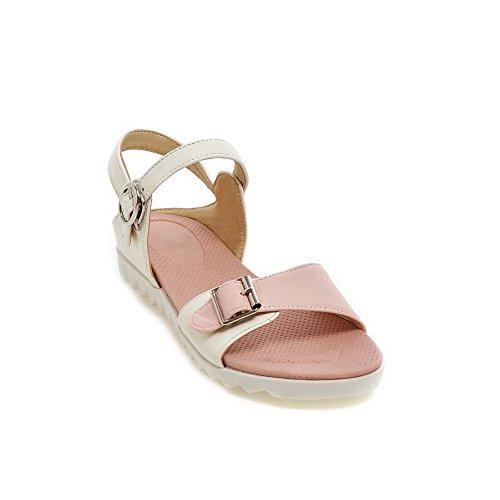Allhqfashion Kvinners Lave Hæler Assortert Farge Spenne Mykt Materiale Åpen Tå Kiler-sandaler Rosa