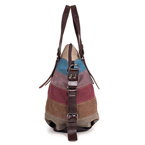 LOSMILE Women s Striped Canvas Multi-Color Shopper Totes handbag Crossbody Shoulder  Bag Leisure Hobo Bags 6c1778453b4dd