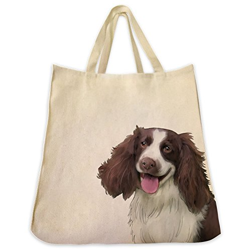 English Springer Spaniel Extra Large Eco Friendly Reusable Cotton Twill Shopping Handbag And Tote Bag