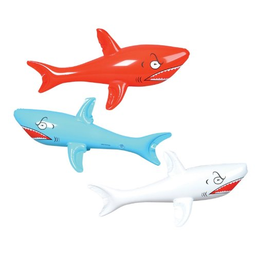 3 HUGE Jumbo - 46'' Inflatable SHARKS/Shark INFLATES/Party DECORATIONS/DECOR/FAVORS/POOL TOYS by RIN