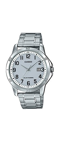 Casio MTP-VS02D-7B Men's Standard Solar Stainless Steel Gray Numbers Dial Date - Sol Per