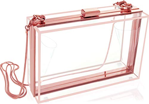 Clear Clutch For Girls Or Women - Cute Rose Gold Crossbody Handbag With Removable Chain - Use This Transparent Acrylic Purse Box As A Evening Bag, In Weddings, Festivals, Super Bowl, Stadium Approved.