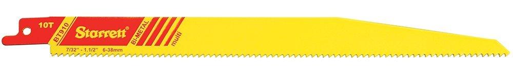 Starrett BT910-50 Bi-Metal Fast Cut Tapered General Purpose Reciprocating Blade, 0.050'' Thick, 10 TPI, 9'' Length x 3/4'' Width (Pack of 50)