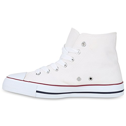 Stiefelparadies Sneakers High Damen Schuhe Canvas Turnschuhe Sportschuhe Flandell Weiss Rot