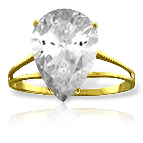 ALARRI 5 Carat 14K Solid Gold Ring Natural White Topaz With Ring Size 8.5 by ALARRI