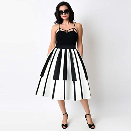Skirt Fancy Slim Vita Printed Slim Pleated alta Pattern White Adeshop Summer Elastic Donna Party Fluffy Women Touches Partito Dress Piano fWcwAwqXz
