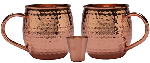 Melange 24 Oz Copper Barrel Mug for Moscow Mules, Set of 2 with One Shot Glass - 100% Pure Hammered Copper - Heavy Gauge - No Lining - Includes Free Recipe Card