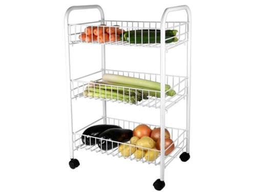 3 TIER WHITE FRUIT VEGETABLE RACK STORAGE STAND WITH WHEELS CART TROLLEY KITCHEN EXPRESS TRADING ®