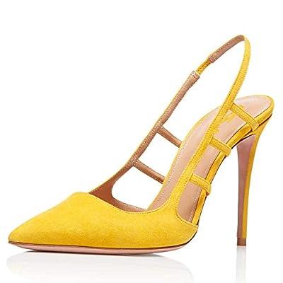 FSJ Women Pointy Toe Cutout Slip On Pumps Stilettos High Heel Slingback Gladiator Evening Dress Shoes Size 4-15 US