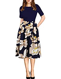 ef5363f647 Women s Vintage Patchwork Pockets Puffy Swing Casual Party Dress OX165