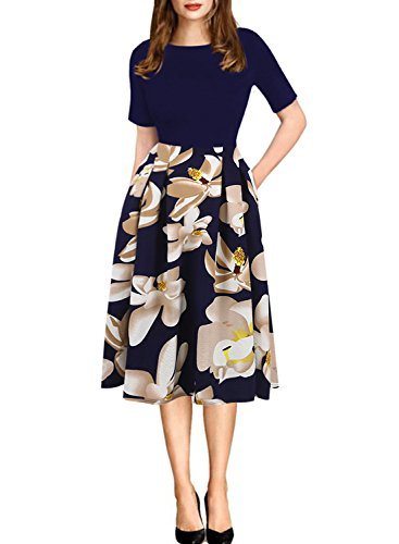 oxiuly Women's Patchwork Foral Pockets Puffy Swing Casual Party Dress OX165 (M, Blue + White)
