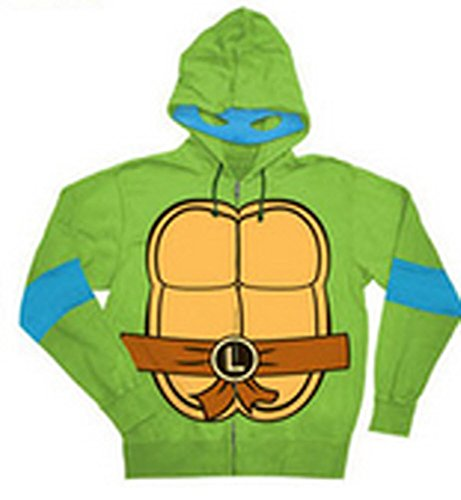 Teenage Mutant Ninja Turtles Leonardo Costume Adult Hooded Sweatshirt (Adult X-Small) - Raphael Hoodie Adult Costumes