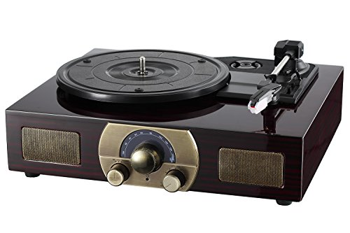 Vinyl Record Player, LuguLake Turntable with Stereo 3-Speed, Built-in BT Speakers, Record Player, FM Radio and RCA Output, Vintage Phonograph with Retro Wooden Finish 5