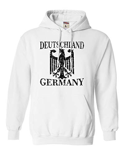 Go All Out X-Large White Adult Germany Deutschland Distressed Crest Sweatshirt Hoodie