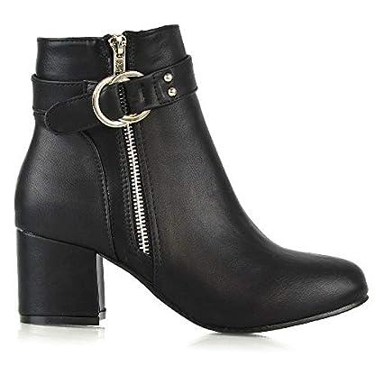 ESSEX GLAM Womens Ankle Boots Block Low Mid Heel Ladies Zip Buckle Strap Smart Booties Shoes 4