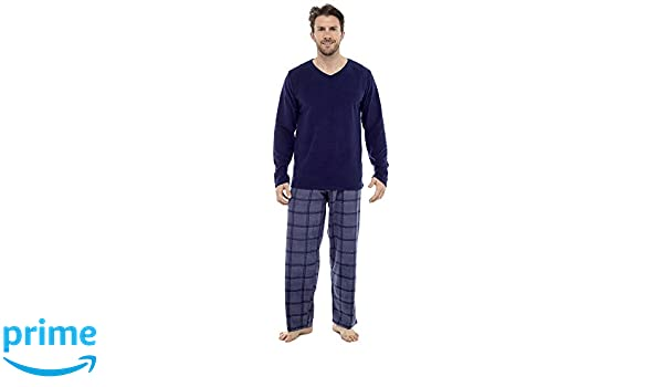 Para hombre themarl Micro forro polar anti píldora pijama Set, Azul Top, Large: Amazon.es: Ropa y accesorios