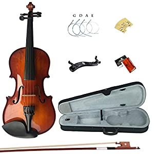 Esound 1/8 MB2 Solid Wood Satin Antique Violin with Hard Case, Shoulder Rest, Bow, Rosin and Extra Strings 418QwRoec7L